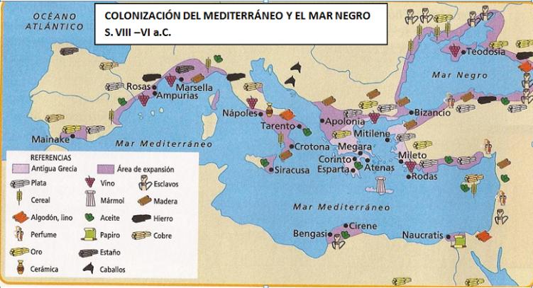 Resultado de imagen de mapa de colonizaciones griegas